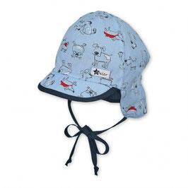 Kopfbedeckung - Schirmmütze - Baby -  Nackenschutz in himmelblau mit Tiermotiven - UV SCHUTZ 50 + - Sterntaler