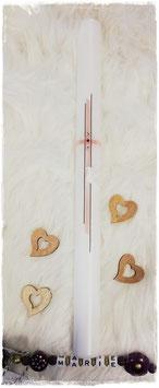Taufkerze - Kreuz mit Taube rosa inkl. Swarovski Steinen