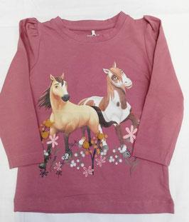 Shirt - Pferdemotiv - langarm - dunkelrose - NAME IT MINI MÄDCHEN