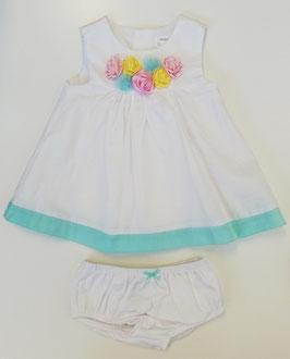 Kleid - Taufkleid - weiß - bunte Rosenblüten - Sommerkleid - ohne Arm - Mayoral - Taufe - Festmode