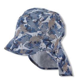 Kopfbedeckung - Schirmmütze mit Nackenschutz - blau - grau - Dino - Zoo - UV Schutz - Sterntaler