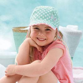 Kopfbedeckung - Mütze - Schirmmütze mit Nackenschutz helltürkis mit Punkten - UV SCHUTZ - Sterntaler