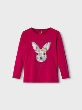 Shirt - Hase - Rot / Persian Red - Hasenshirt - superweich - NAME IT MINI MÄDCHEN