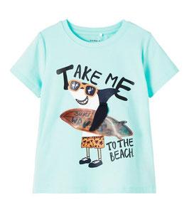 Shirt - TAKE ME TO THE BEACH - aqua - NAME IT MINI JUNGEN