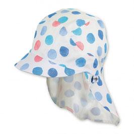 Kopfbedeckung - Mütze - Schirmmütze mit Nackenschutz - weiß mit Rundmotiven - UV SCHUTZ - Sterntaler