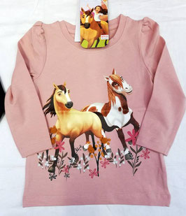 Shirt - Pferdemotiv - langarm - rose - NAME IT MINI MÄDCHEN