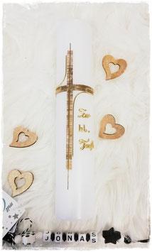 Taufstumpen mit braun goldenen Kreuz