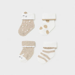 Socken 4 er Set - taupe - weiß - Neugeborene - Mädchen - Mayoral