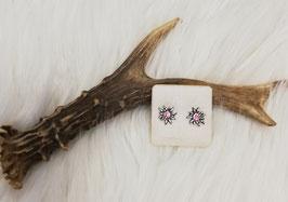 Edelweiß Ohrstecker mit rosa Steinen - Tracht Damen