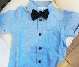 Hemd - Kinderhemd  hellblau- Biobaumwolle inkl. Mascherl - NAME IT MINI JUNGEN