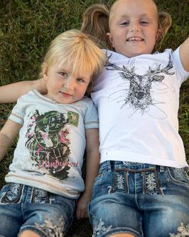 Tracht - Shirt - Kindertrachten Shirt HIRSCH in weiß - Tracht Mädchen