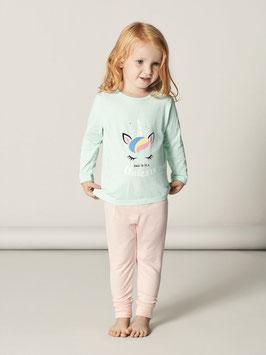 Nachtwäsche - Baumwoll Pyjama Einhorn - mint - AKTION - langarm - NAME IT MINI MÄDCHEN