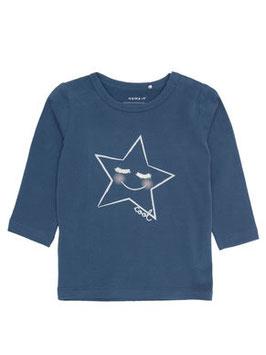 Baby Shirt mit Gesicht - blau - NAME IT BABY MÄDCHEN
