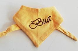 """Latzerl -  gelb  mit brauner Stickerei """"BUA"""" - Babytracht"""