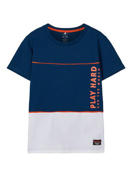 Shirt - PLAY HARD - blau - ornage - NAME IT KIDS JUNGEN