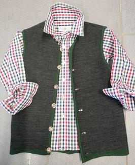 Tracht - Jacke - Strickjacke grau mit grün - Kindertracht