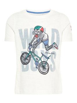 T - Shirt bedruckt-Tiger mit Fahrrad in creme