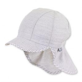 Kopfbedeckung - Schirmmütze mit Nackenschutz lichtgrau - UV Schutz 50 + Sterntaler