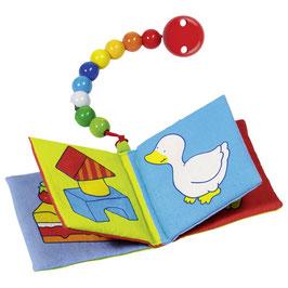 Textilbuch (Quietscher und Knisterfolie) mit Perlenkette