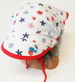Kopfbedeckung - Kopftuch mit Schild  - mitwachsend - weiß mit Seesternen - UV Schutz - Sterntaler