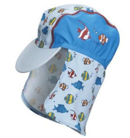 Kopfbedeckung - UV - Schutz Mütze Fische hellblau