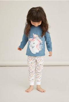 Nachtwäsche - Baumwoll Pyjama - EINHORN - prtrol mit Punkte -  AKTION - langarm - NAME IT MINI MÄDCHEN