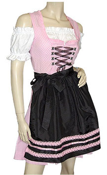 Teenie Dirndl - rosa/schwarz - Tracht Mädchen