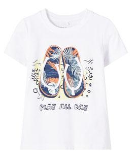 Shirt - kurzarm - Flip Flop - weiß - NAME IT MINI JUNGEN