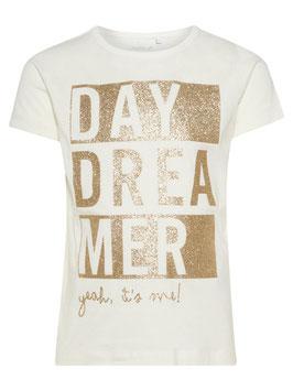Shirt - Mädchenshirt weiß mit Goldschrift - Day Dreamer - NAME IT MINI MÄDCHEN