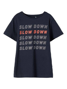 Shirt - kurzarm - SLOW DOWN - marine - rost - Print - AKTION - NAME IT KIDS JUNGEN