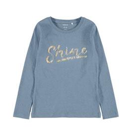 Shier - Shine - dusty - blau- Pailletten - dusty blue - Biobaumwolle - NAME IT KIDS GIRL