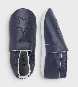 Schuhe - Jungenschuhe - marineblaue Lederslipper mit Stern - NAME IT MINI JUNGEN
