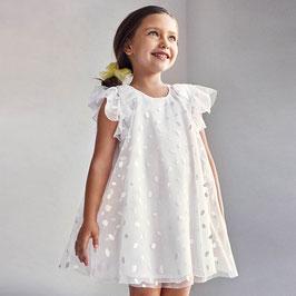 Kleid - weiß  - Tüll - Glitterpunkte - Rüschen  - Festkleid - Festmode