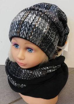 Kopfbedeckung - Beanie- grau - schwarz - Fischgrätmuster - Sterntaler