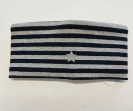 Kopfbedeckung - Stirnband -Baumwoll Reflexionsstern Stirnband in streif - grau - marine