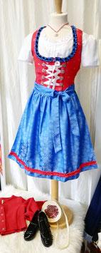 Tracht - Teenie Dirndl -Teenagerdirndl - Jugenddirndl - rot mit Blumen - blau - schwarz -  Tracht Mädchen