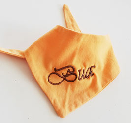 """Latzerl - in gelb und orange mit brauner Stickerei """"BUA"""" - Babytracht"""