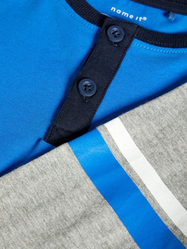 Shirt - blau - grau - Knöpfe - NAME IT MINI JUNGEN