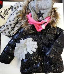 Jacke - Winterjacke mit Daunenfüllung und Herzenmotiven - schwarz - NAME IT MINI MÄDCHEN