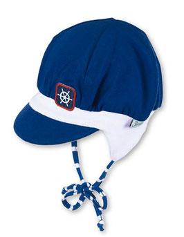 Kopfbedeckung - Ballonmütze mit Schild in blau mit Steuerrad - Sterntaler