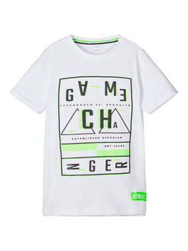 Shirt - T - Shirt - weiß - neongrün - NAME IT KIDS JUNGEN