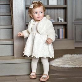 Kleid - Spitzenkleid mit Tüll - ivory - langarm - Majoral - Festkleid
