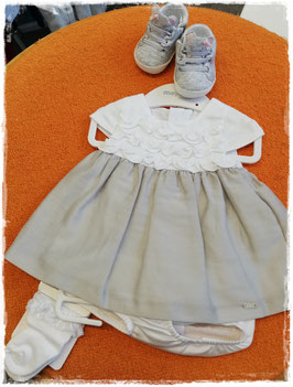 Kleid - Taufkleid Mayoral - grau/weiß - Taufe -Festmode