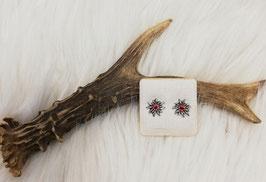 Edelweiß Ohrstecker mit roten Steinen - Tracht Damen