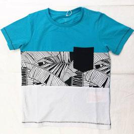 Shirt - kurzarm - aqua - weiß - Biobaumwolle  - NAME IT KIDS JUNGEN