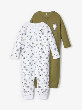 Nachtwäsche - 2 er Pack Reissverschluss Schlafanzug Doppelpack  AKTION - ZEBRA - NAME IT MINI UNI