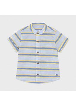 Hemd - Kinderhemd - kurzarm - Mao Kragen - gestreift - hellblau - gelb -  MINI BOY - MJ