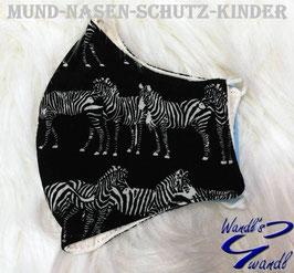 Mund-Nasen-Maske-Kinder - Zebra - schwarz - weiß