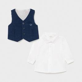 Hemd - Babyhemd - Langarm Hemd inkl. Weste - marine - weiß - Gr 68/ 74 -  Neugeborene - Taufe - Festmode
