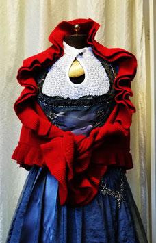 Poncho - Tracht - Trachten Poncho mit dekorativen Rüschen in rot